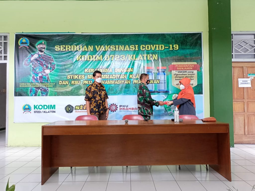 KODIM 0723/ Klaten Gandeng STIKes Muhammadiyah Klaten Adakan Vaksinasi Covid-19